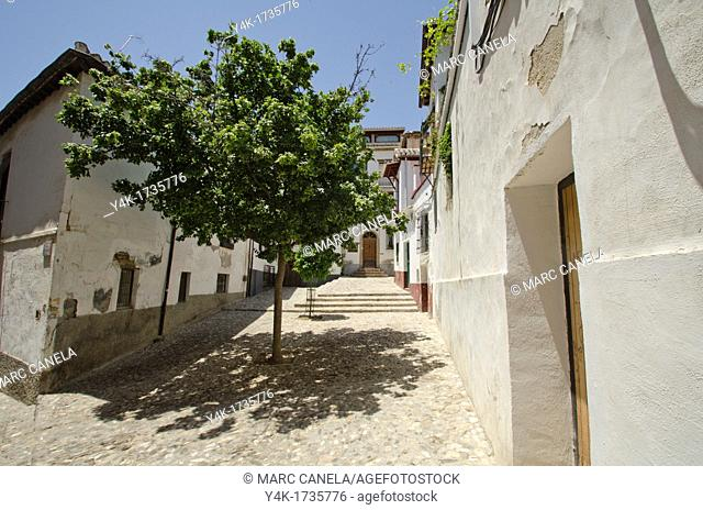 Europe, Spain Granada albaicin square rosal