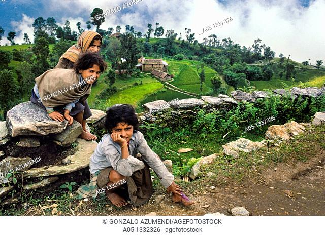 Children and houses  Rice field  Near Pokhara Himalaya  Nepal