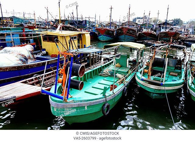 Wenchang, Hainan, China - The view of many fish boat at Qinglan Harbor in the daytime