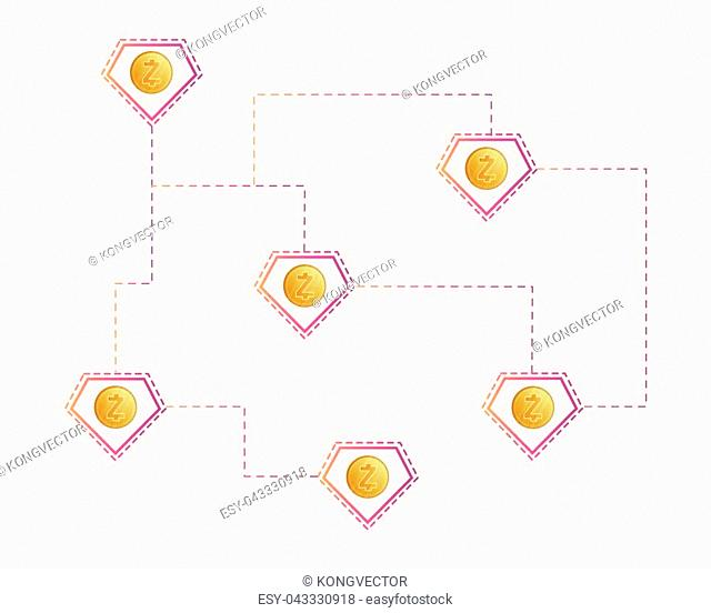 Cryptocurrency zcash technology payment style background vector illustration