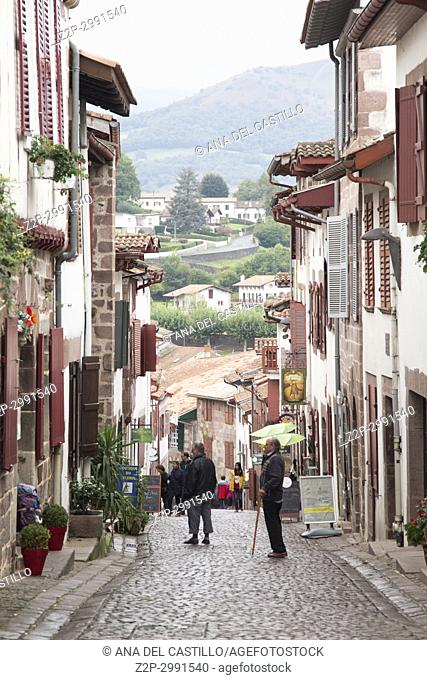 Saint Jean Pied de Port is the traditional starting point for the Camino de Santiago, France, UNESCO - the Pilgrim's Road to Santiago de Compostela on October...