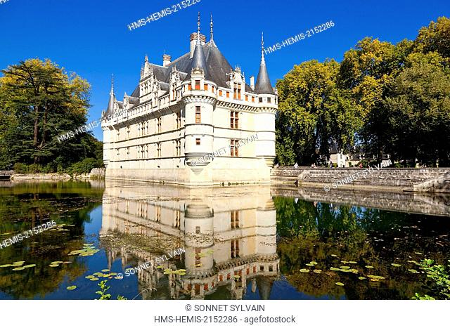 France, Indre et Loire, Loire Valley listed as World Heritage by UNESCO, Azay le Rideau, Azay le Rideau castle on the Indre river