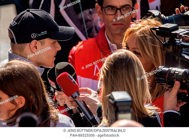 The Finnish Formula one driver Valtteri Bottas from Mercedes AMG talks to the media at the Formula One pre-season testing at the Circuit de Catalunya race track...