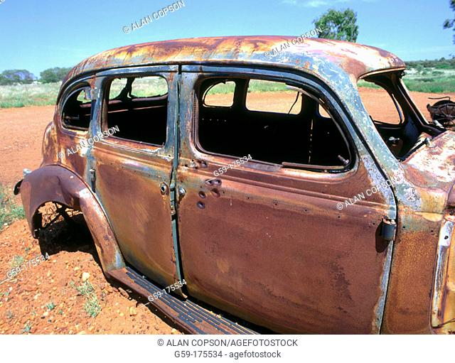 Abandoned car. Stuart Highway near Wauchope. Northern Territory, Australia