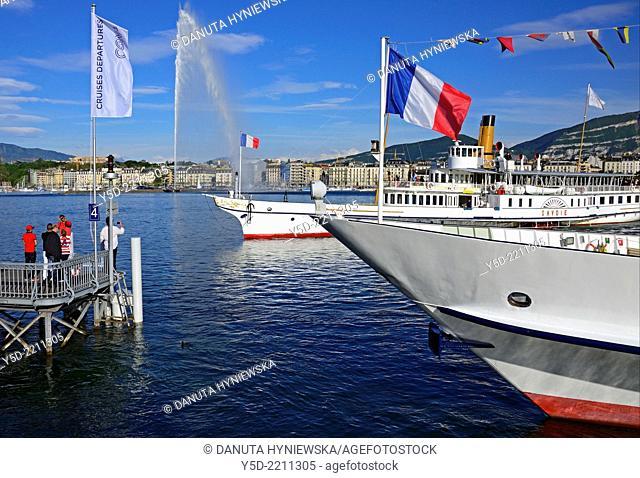 Steamboats touristic cruises harbor in Geneva, Switzerland