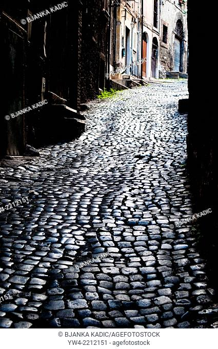 Cobbled street in Tivoli, Italy