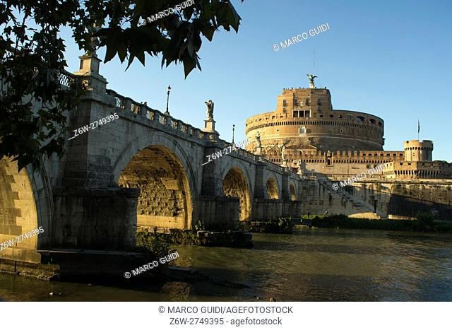 Daytime view of the Castle Sant'Angelo in Rome Italy Europe