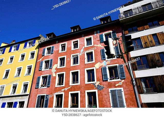 Facades of apartment buildings along Rue de Montbrillant in the city center of Geneva, Switzerland, Europe