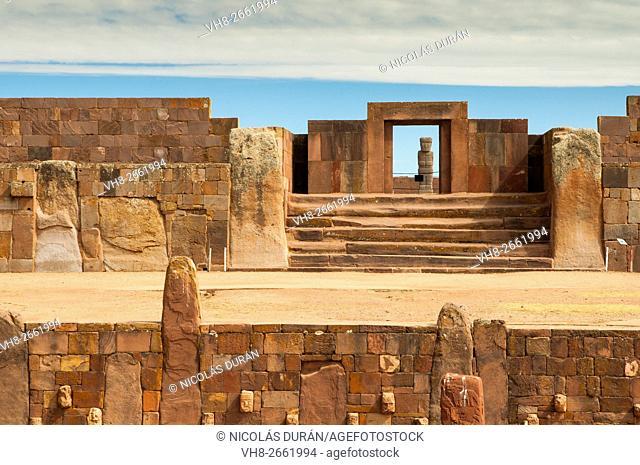 Tiahuanaco ruins. La Paz Department. Bolivia. Southamerica