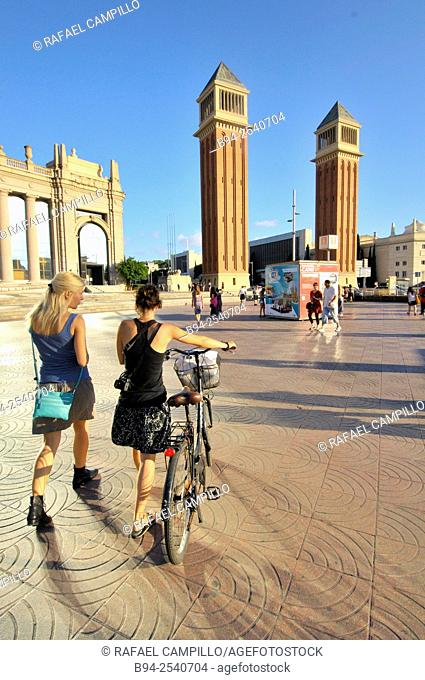 The Venetian Towers, Torres Venecianes is the popular name for a pair of towers on Avinguda de la Reina Maria Cristina at its junction with Plaça d'Espanya in...