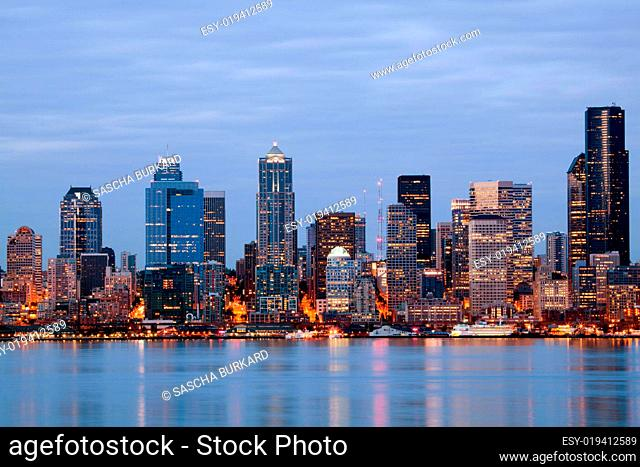 Seattle Washington skyling at twilight