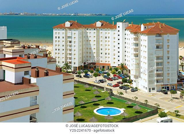 Blocks of flats near to sea, El Puerto de Santa Maria, (Cadiz city in the background), Cadiz-province, Region of Andalusia, Spain, Europe