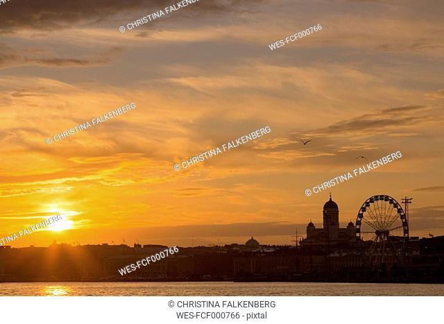 Finland, Helsinki, Skyline in the evening