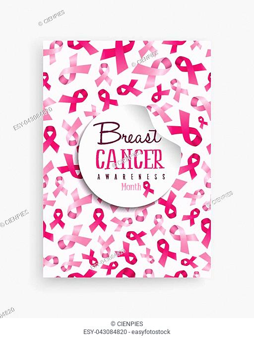 Breast cancer awareness month illustration with pink ribbon bow background decoration and text quote for support campaign. EPS10 vector