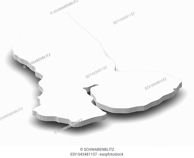 Map of Yangon, a province of Myanmar, as a gray piece with shadow