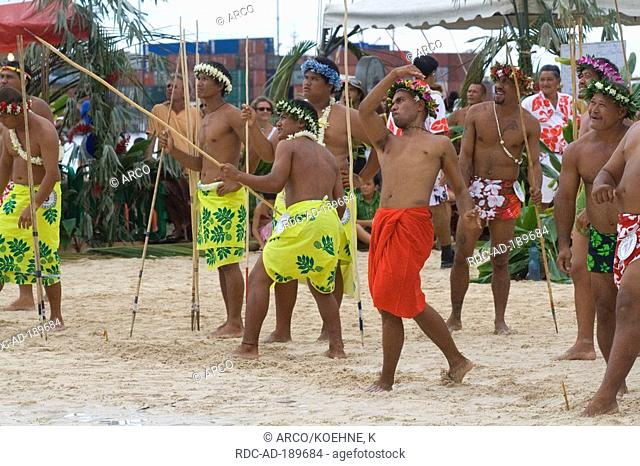 Traditional javelin thrower, Heiva festival, Papeete, Tahiti, French Polynesia