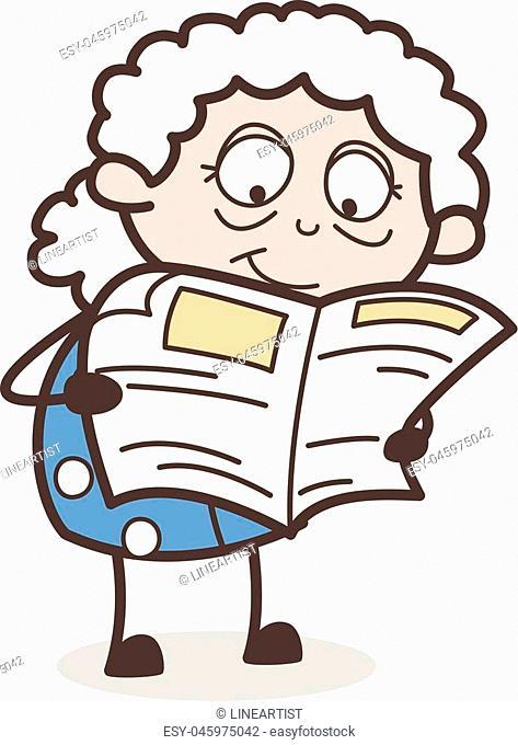 Cartoon Old Grandma Reading Newspaper Vector Illustration