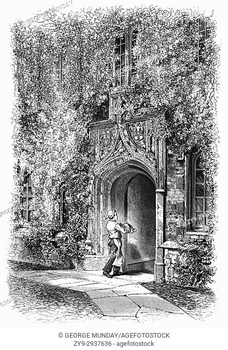 1870: Cook entering the Gateway of Jesus College, established 1516, is a constituent college of the University of Cambridge, England