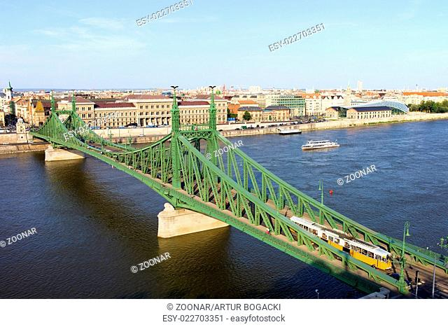 Liberty Bridge and Budapest Skyline
