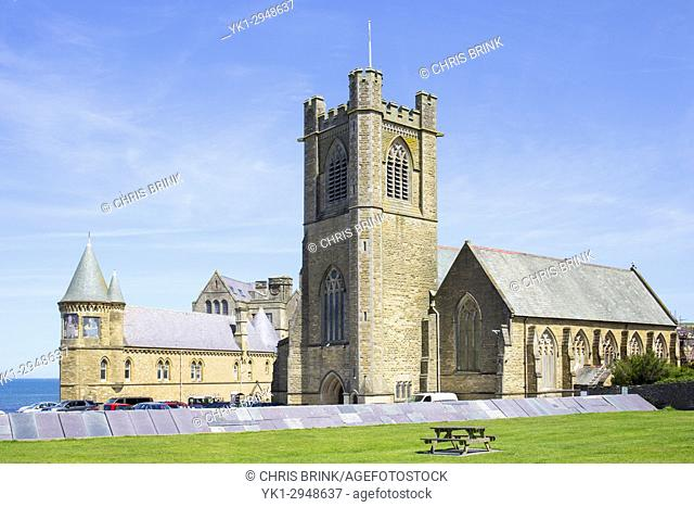St Michael's Church and the Old College University building in Aberystwyth Ceredigion Wales UK