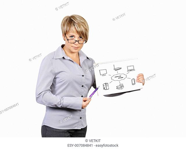 woman holding poster with computer network