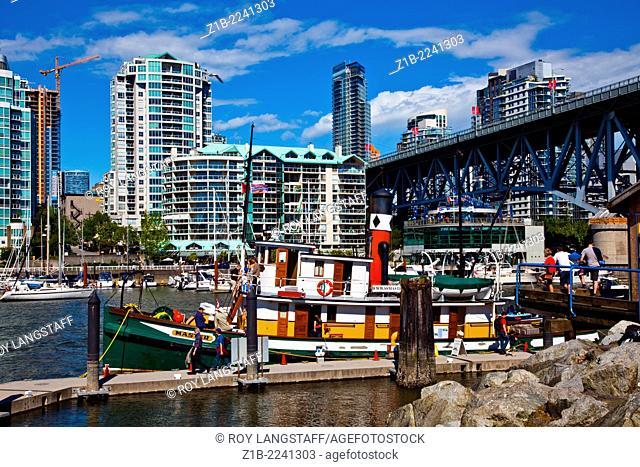Steam powered vessel docked at Granville Island on False Creek, Vancouver