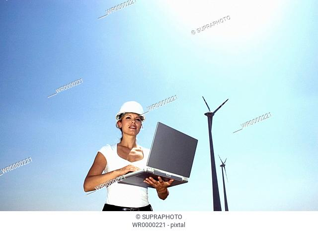 Woman computer windmachines