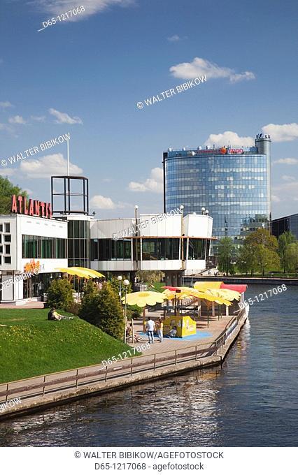 Estonia, Southeastern Estonia, Tartu, Atlantis Cafe on the Emajogi River
