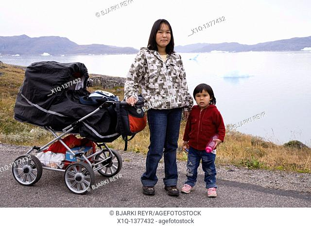 Woman with her children, Narsaq, South Greenland