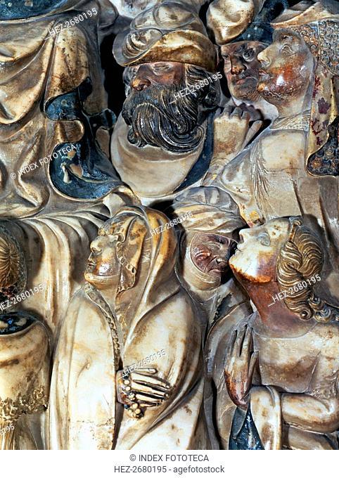 Altarpiece in polychromed alabaster from the main altar or Santa Tecla altar. Predella detail wit?