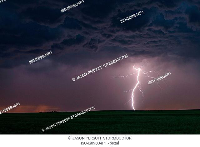Forked cloud-to-ground lightning bolt hits rural terrain, Ogallala, Nebraska, US