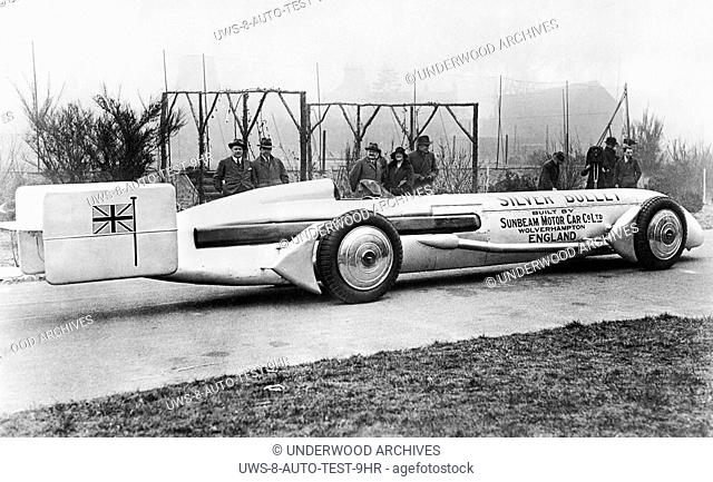Wolverhampton, England: 1930 The Silver Bullet car in which racer Kaye Don will attempt to beat Seagrave's record speed of 231 mph at Daytona Beach