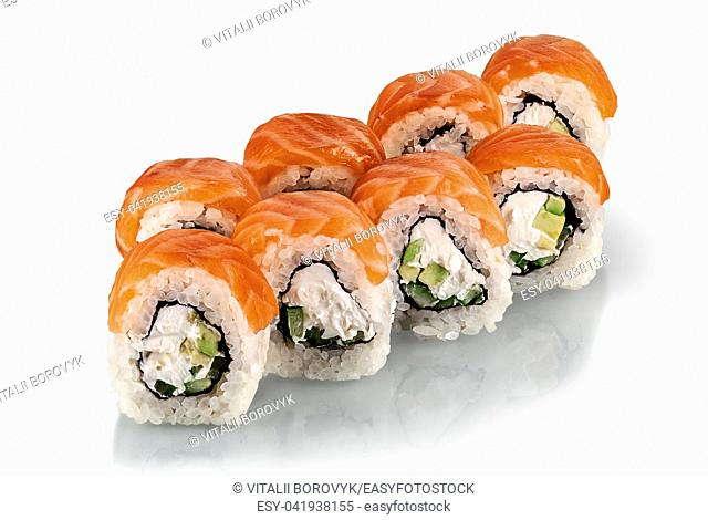 A few pieces of Philadelphia sushi rolls isolated on a white background. Reflection