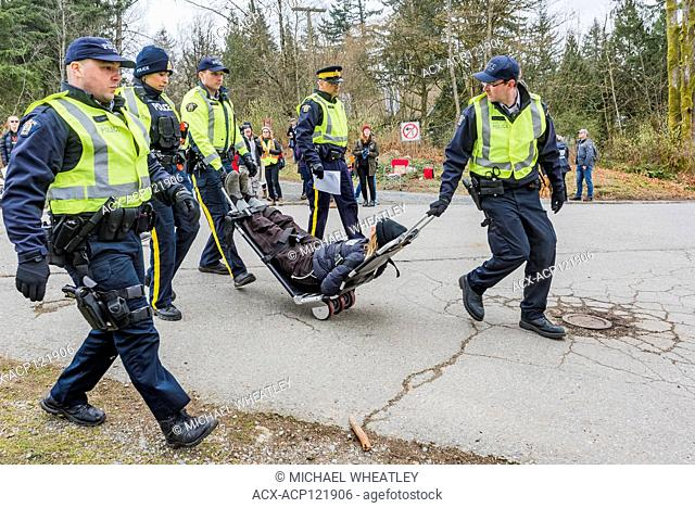 Anti Pipeline protesters arrested at entrance to Kinder Morgan Pipeline Terminal, Burnaby, British Columbia, Canada