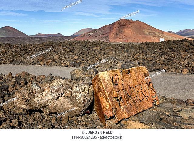 East Coast, Los Hervideros sign, National park , Timanfaya, Lanzarote, Canary Islands, Spain