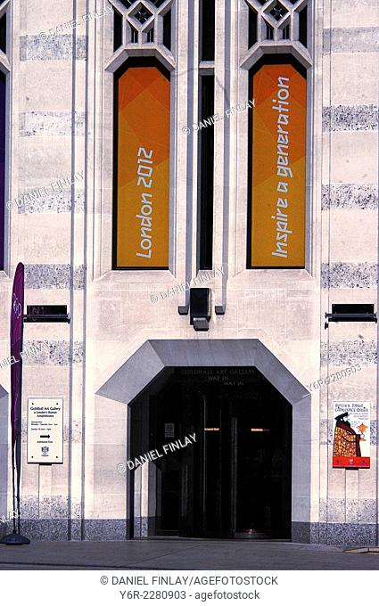 Entrance to the Guildhall Art Gallery in the heart of the ancient City of London, during the 2012 Olympics period