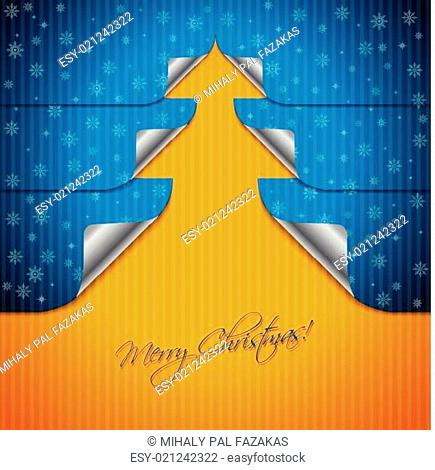 Greeting card design with bent stickers shaping tree