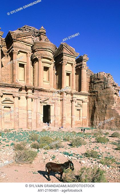 """JORDAN.PETRA.THE ARCHEOLOGICAL SITE OF THE NABATEAN CITY OF PETRA. """"""""EL DEIR"""""""" TEMPLE ALSO CALLED THE """"""""MONASTERY"""""""""""