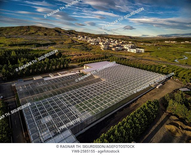 Top view of Greenhouses. Lambhagi Greenhouses grow fresh lettuce and herbs. Greenhouses use geothermal energy, Reykjavik, Iceland