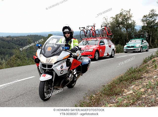 Professional cyclists competing in the Tour of Catalonia 2016, near Girona, Spain