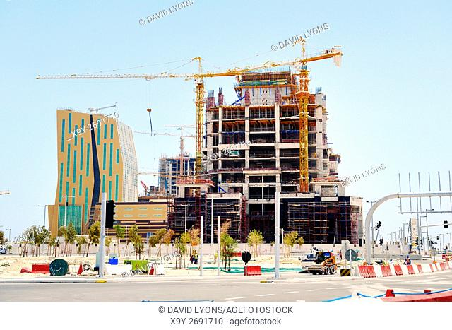 Al Bandary Engineering's Commercial Tower under construction. Marina District of rapidly developing new city of Lusail, Qatar