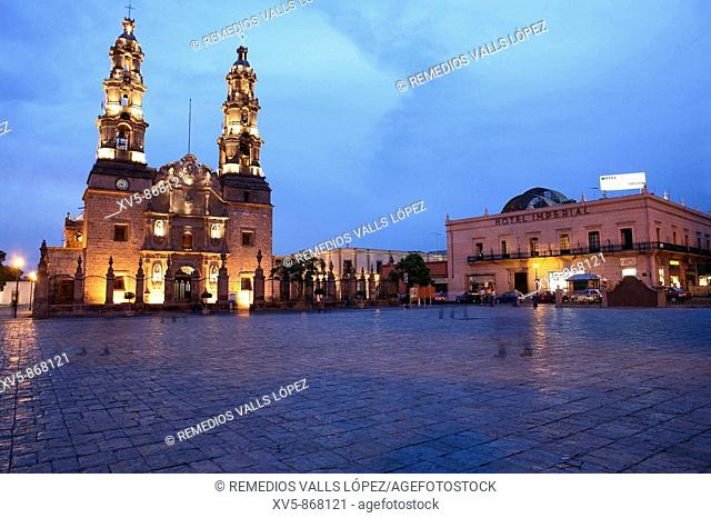 Mexico. Aguascalientes. Cathedral at main square