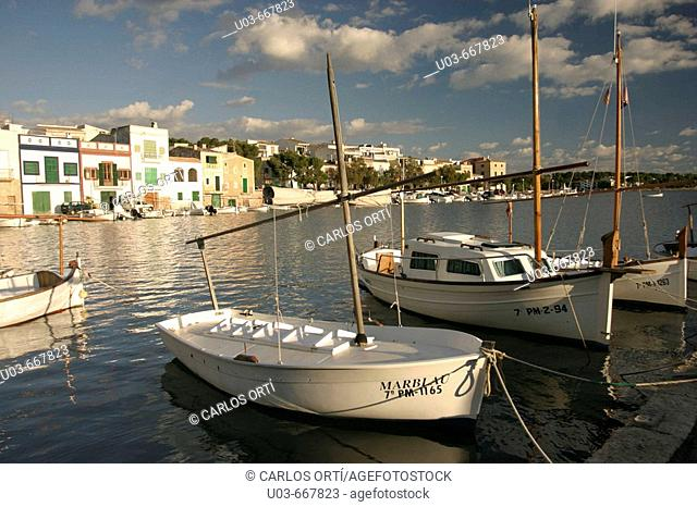 Llaut. Wooden boats. Harbour of Portocolom, Mediterranean Sea, Balearic island of Mallorca, Spain