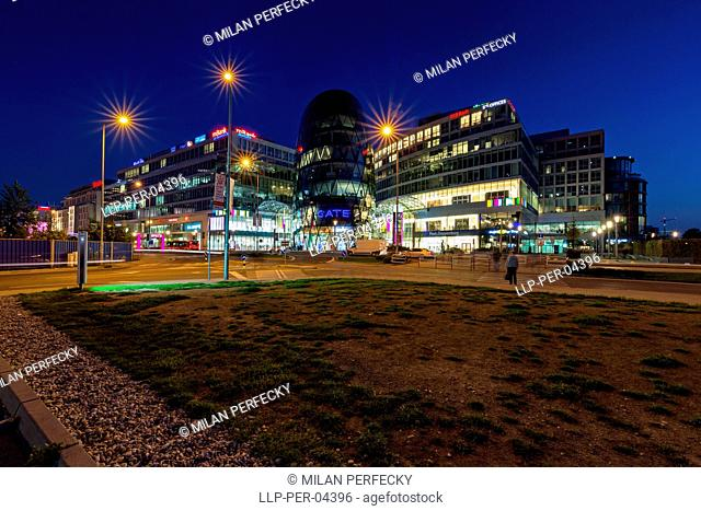 Eurovea, shopping center,Bratislava, Slovakia, night
