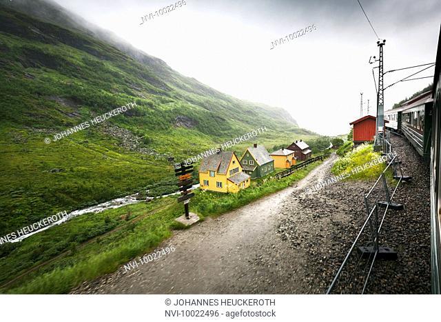 Norwegian mountain railway Flåmsbana in Flåmsdalen, Norway