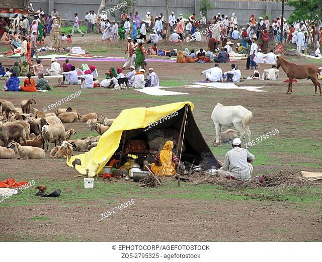 Warkaris or pilgrims, Pandharpur Yatra at Alandi, Maharashtra, India