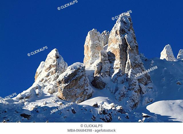 Peculiar dolomites peaks in winter from Ciampedie, Val di Fassa, Province of Trento, Trentino Alto-Adige, Italy