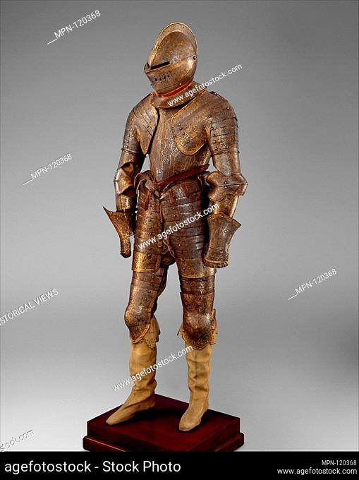 Armor for Heavy Cavalry. Date: ca. 1600; Culture: French; Medium: Steel, gold, leather, textile; Dimensions: H. 57 in. (144.8 cm); Wt. 77 lb. 2 oz