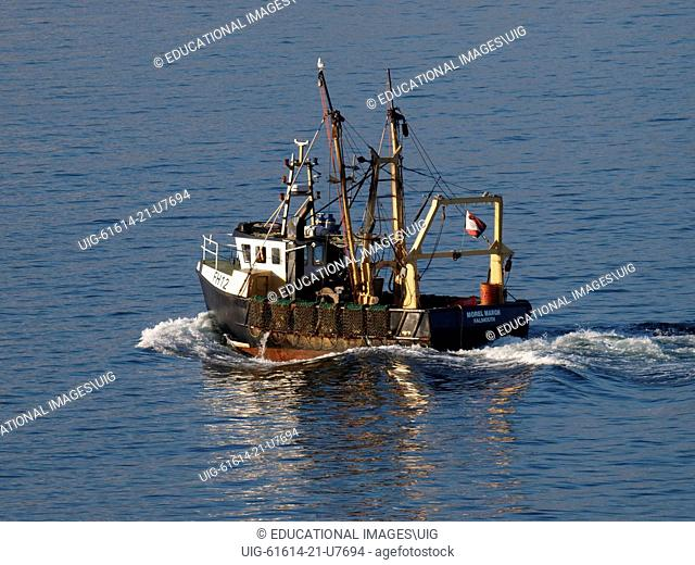 Morel Margh, A commercial scallop dredging trawler, Falmouth Bay, Cornwall, UK