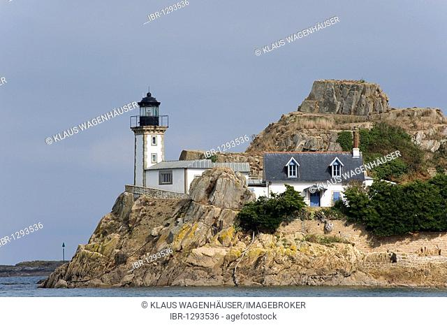 Lighthouse on the Isle Louët island in the Bay of Morlaix, Finistere, Brittany, France, Europe